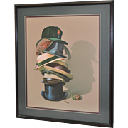 Stack of Hats w/ Snail and Profile in Shadow Fine Art Lithograph by G. Brown