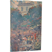 """Magnificent Impressionist Oil Painting """"Cafe Select"""" French Cafe Scene c.1920"""