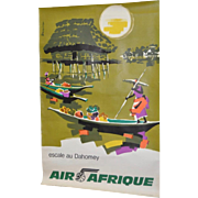 "Vintage ""Air Afrique"" French Travel Poster c.1960"