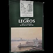 "Vintage Claude LEGROS Exhibition Poster ""Monotypes"" c.1991"