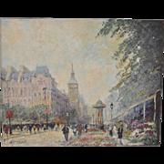 "Marcel Brisson (French, b. 1915) Original ""Paris"" Oil Painting c.1960"