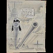 Original Political / Navy Cartoon Art by Ed Batchelor c.1940s