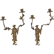Pair of Early 20th Century French Figural Two Arm Bronze Wall Sconces