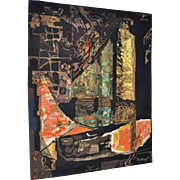 "Abstract Woven Wool Tapestry ""Nocturne"" by Mathieu Mategot c.1950s"
