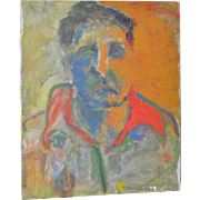 Vintage Abstract Oil Portrait In Orange