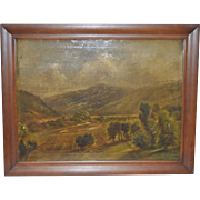 Antique Farm Valley Landscape Oil Painting