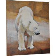 "Ute Simon ""Polar Bear"" Oil on Canvas Painting, Circa 2003"