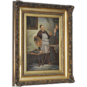 """Early to Mid 19th Century Oil Painting of a Monk as """"The Artist"""""""
