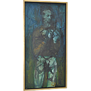 Vintage 1960s Figural Abstract Oil on Canvas