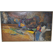 Mid Century Modern Oil on Canvas Abstract Painting, Unsigned c.1950s