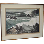 """Point Sal, California State Beach """"Storm at Sea"""" Watercolor by Mary c.1940s"""