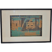 Vintage Abstract Woodblock Print, Unknown c.1930s
