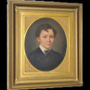 Antique Oil Portrait of a Young Boy c.1880s