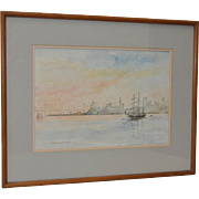 William Dohrmann (1906-1989) Impressionist Watercolor of San Francisco Bay c.1983