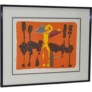 "Marino Marini (Italian, 1901-1980) ""Chevaux et Cavaliers"" Artist Proof Pencil Signed c.1970"