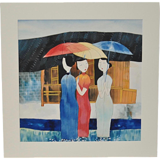 Wu Chi Yong Original Watercolor Three Women w/ Umbrellas c.2001