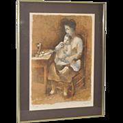 Manolo Ruiz Piop (1929-1998) Vintage Pencil Signed Lithograph c.1970