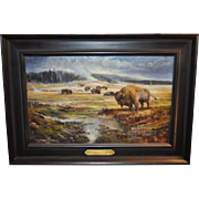 "Stefan Baumann ""Equinox Congregation of Bison"" Yellowstone, National Park Oil Painting"