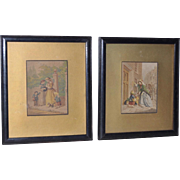 Pair of European Hand Colored Prints Early 20th Century