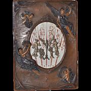 Art Nouveau Leather Picture Frame w/ Bronze Pediment Mounts c.1910
