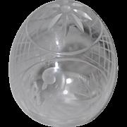 Vintage Faberge Cut Crystal Egg w/ Swan