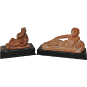 Pair of Reclining Red Clay Figurines After Antiquity