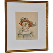 Late 19th century original watercolor of a young girl with an elaborate bonnet.