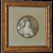 Framed 19th Century Portrait Miniature of Woman w/ Elaborate Headdress