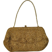 Vintage Golden Seed Bead Bag c.1940