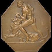 Austrian Art Deco Bronze Medallion Man and Lion