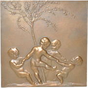 Art Nouveau Bronze Plaque by Stephan Schwartz (Austria, 1851-1924)