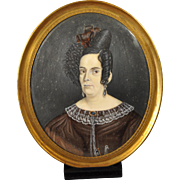 19th Century Portrait Miniature A Woman w/ Elaborate Hair