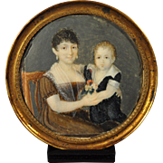 Mother and Child Portrait Miniature 19th Century