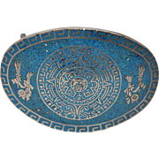 Taxco Silver & Turquoise Inlay Mayan Belt Buckle