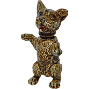 Antique German Iron & Enamel Miniature Bobblehead Dog Stamped
