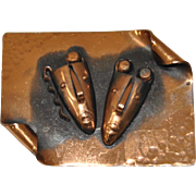 Francisco Rebajes Hammered Copper Theatre Masks Brooch