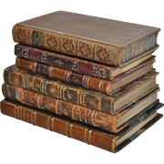 Lot of Six Antique Leather Bound Books