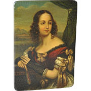 Hand Painted Portrait Miniature on Lacquered Box (German, 19th c.)