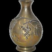 Vintage Solid Brass Vase w/ Grapes & Leaves c.1920
