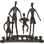Vintage Bronze Family Group Menorah