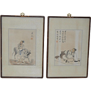 Pair of Chinese Paintings on Silk Early 20th Century