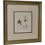 """Charles Bragg Original Etching """"The Jesters Jester"""" c.1970s"""