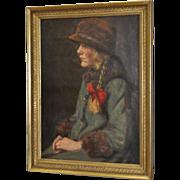 "Carl Stilling (Denmark, 1874-1938) ""Dutch Girl"" Oil on Canvas c.1924"