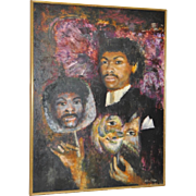 """African American """"Masquerade Ball"""" Oil Painting"""