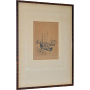 Auguste Brouet (French, 1872-1941) Pencil Signed Etching c.1920