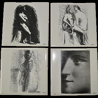 Lot of Four Vintage Picasso Tiles c.1976