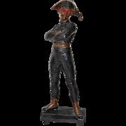 Painted Bronze Harlequin After Rene de Saint Marceau
