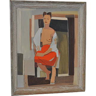 Mid Modern Cubism Seated Figurative Nude c.1940
