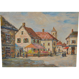 Dennis Ainsley (1880-1952) French Town Square Flower Market c.1930s