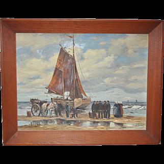 Impressionist Dutch Landscape Unloading The Fishing Boats c.1930